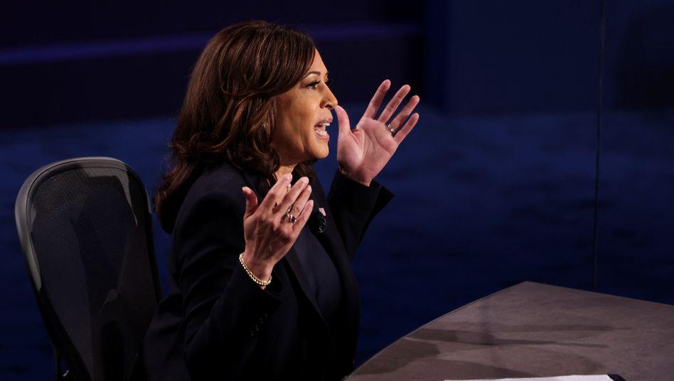 Kamala Harris während der TV-Debatte mit Mike Pence