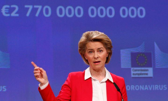 EU-Kommissionspräsidentin Ursula von der Leyen (auf Pressekonferenz am 2. April 2020)