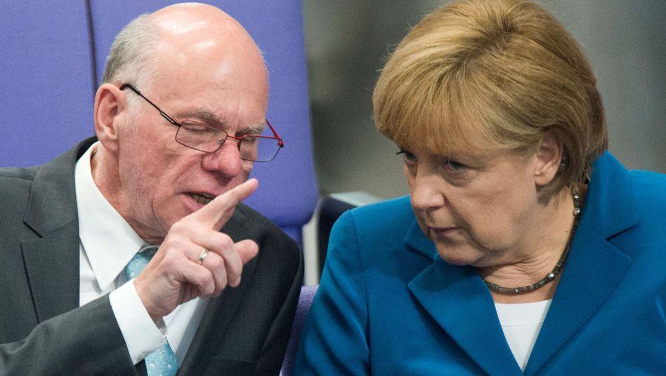 """Bundestagspräsident Lammert, Kanzlerin Merkel: """"Zügig, aber gründlich"""""""
