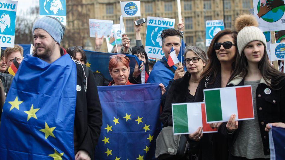 Sie wollen bleiben: EU-Bürger demonstrieren 2017 in London für ihr Bleiberecht
