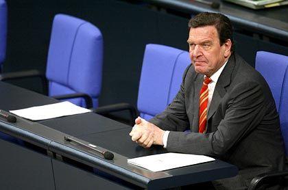 Bewährungsprobe im Bundestag:Gerhard Schröder