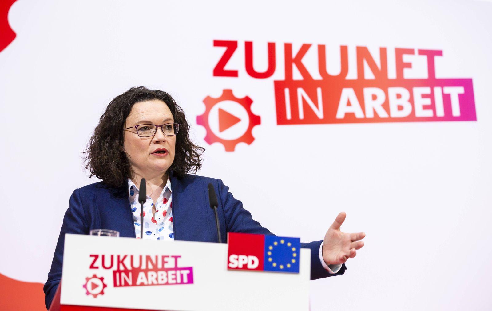 SPD Vorsitzende Andrea Nahles gibt ein Statement am Ende der Jahresauftaktklausur der SPD Spitze im