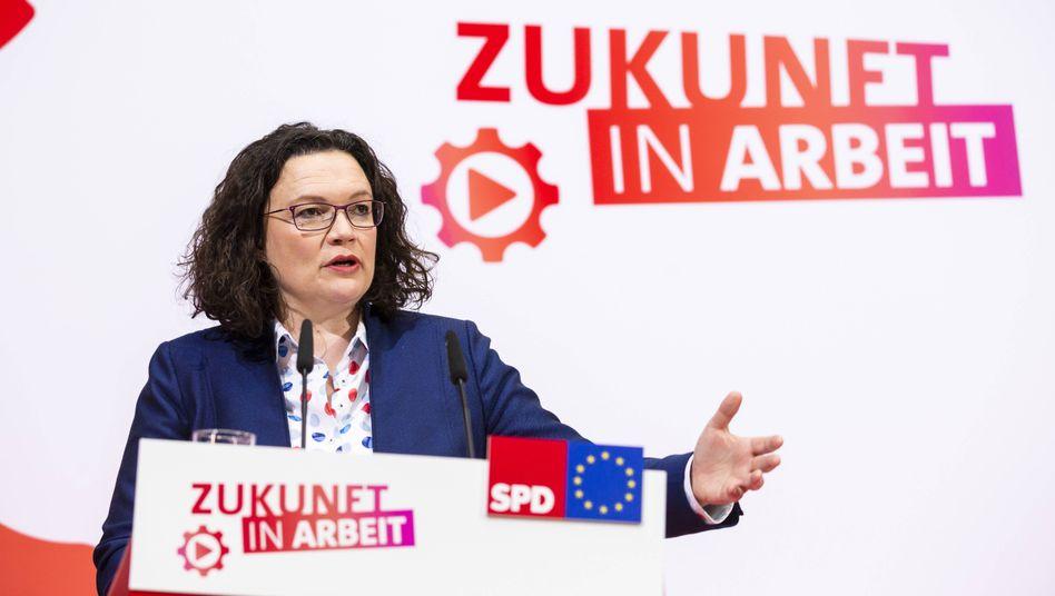 "Verfechterin eines ""neuen Sozialstaats"": SPD-Chefin Andrea Nahles"