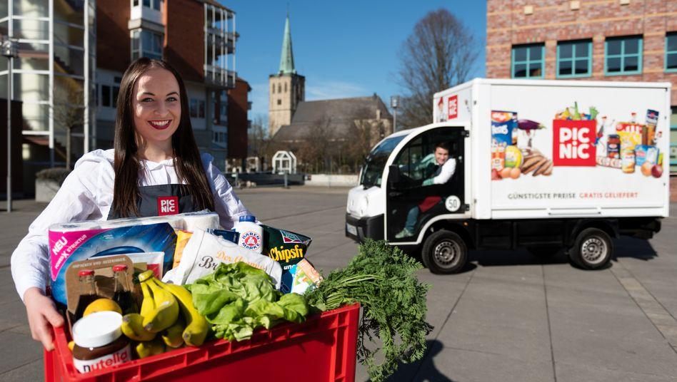 Online-Supermarkt Picnic in Viersen: Die Corona-Krise lässt die Nachfrage nach Lebensmittellieferungen drastisch steigen.
