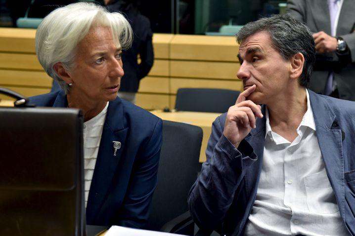 """IWF-Chefin Christine Lagarde mit Griechenlands Finanzminister Euklid Tsakalotos: Schulden """"absolut untragbar"""""""