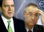 Stimmung auf dem Tiefpunkt: Kanzler Schröder (l.) demontiert Finanzminister Eichel