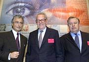 Er warnte: Joachim Kröske (r.) mit Ron Sommer (l.) und dessen Nachfolger Helmut Sihler
