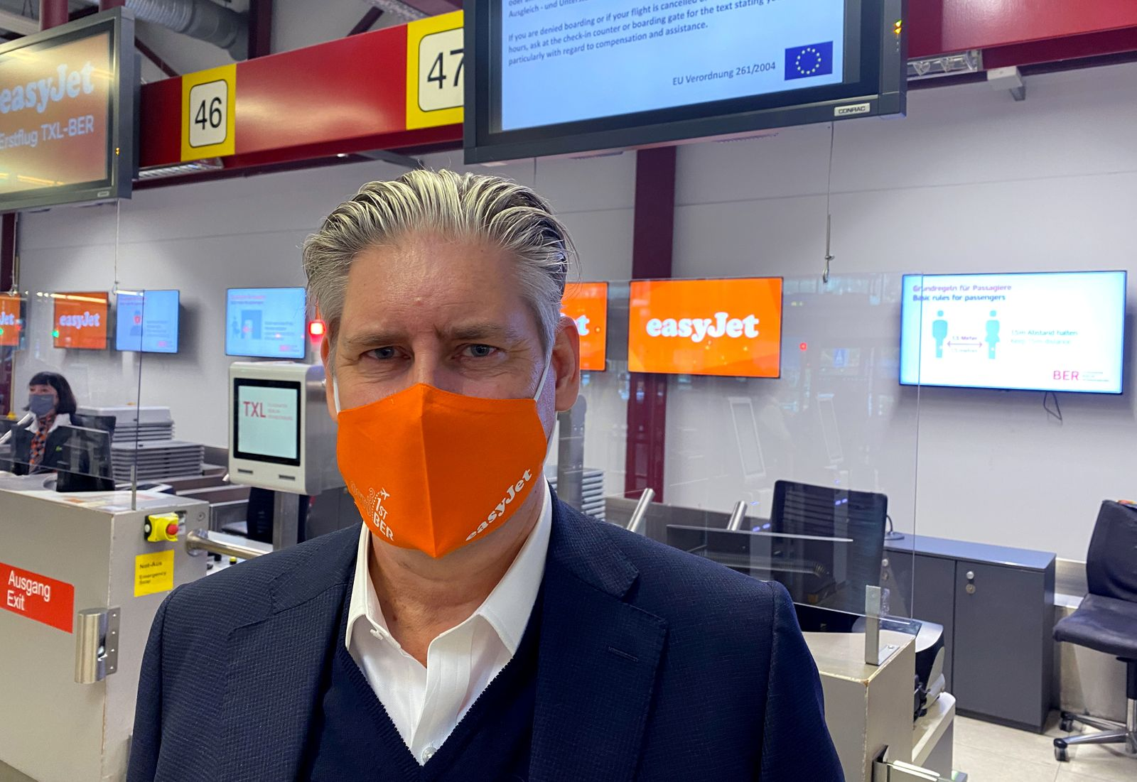FILE PHOTO: EasyJet CEO Johan Lundgren poses at check in at Berlin Tegel airport