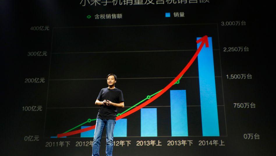 Aufstieg: Xiaomi-Gründer und Chef Lei Jun ist mit seinem Unternehmen auf Platz vier der weltweit größten Smartphonehersteller vorgerückt