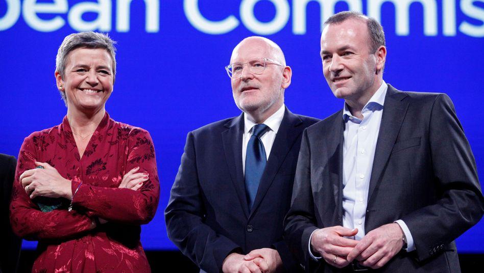 Konkurrenten um das Spitzenamt der EU: Margrethe Vestager geht für die Liberalen, Frans Timmermans für die Sozialdemokraten und Manfred Weber (rechts) für die EVP ins Rennen. Favorit Weber muss noch zittern
