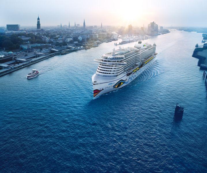 """Lange erwarteter Kapazitätszuwachs: Die """"Aida Prima"""" startet ihre Kreuzfahrten von Ende April an ganzjährig in Hamburg."""