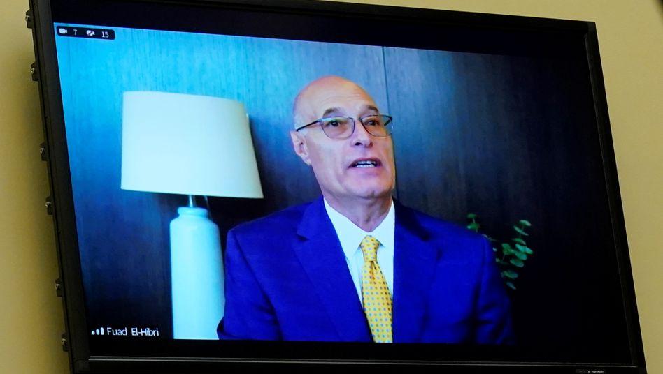 Defensiv: Per Video zugeschalteter Emergent-Gründer Fuad El-Hibri in einer Anhörung des US-Kongresses in Washington am 19. Mai