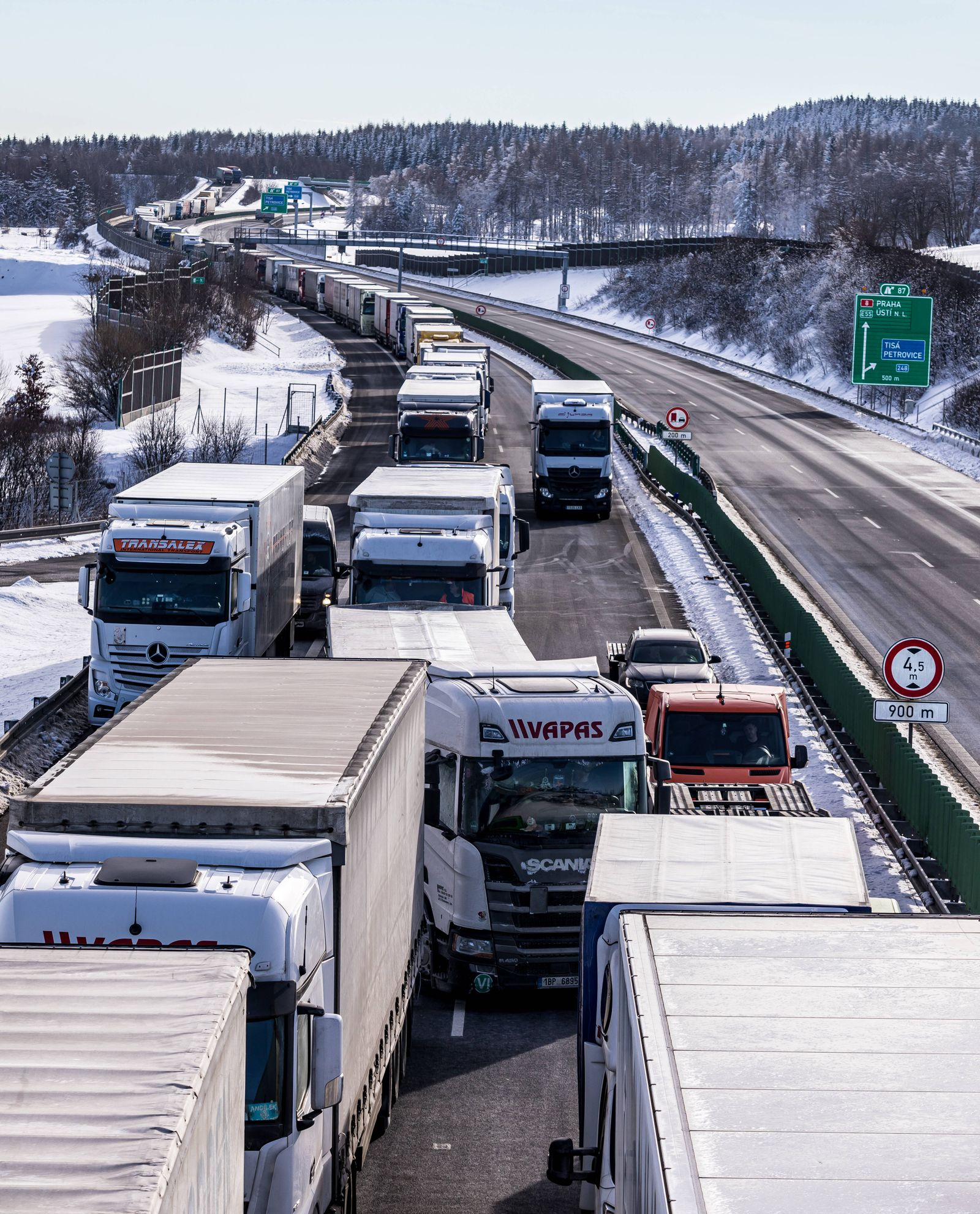 Trucks are jammed on the motorway D8 in front of the Czech-Germany border crossing in Petrovice, Czech Republic, Februa