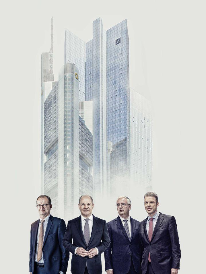 Turmbau zu Frankfurt: Martin Zielke, Olaf Scholz, Paul Achleitner, Christian Sewing (v.l.).