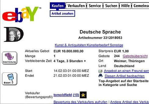 Deutsche Sprache bei Ebay: Ziemlich teuer
