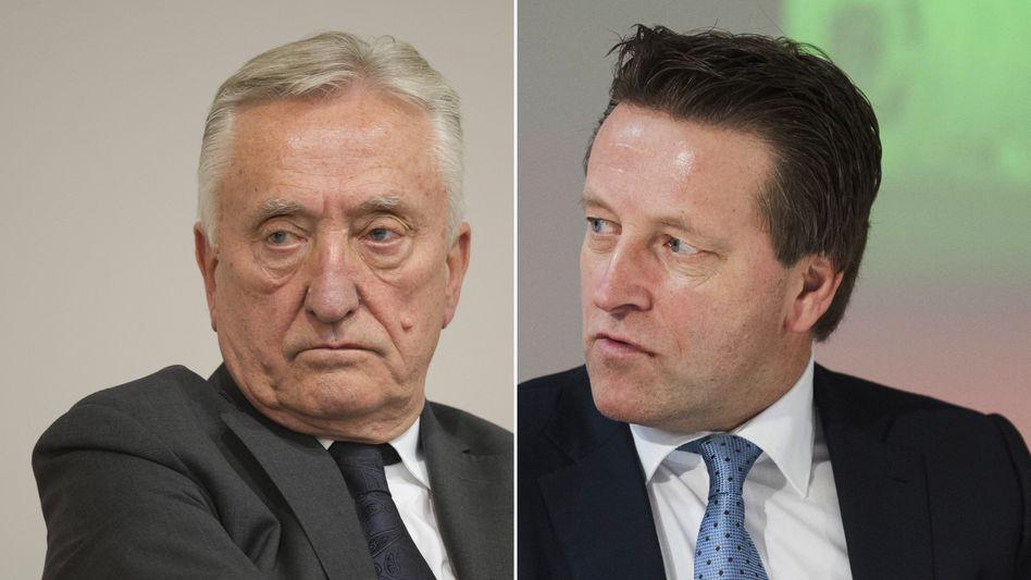 Es wird bissig bei Gerry Weber: Firmengründer Gerhard Weber (l.) und sein Sohn und aktueller Vorstandschef Ralf.