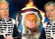 Löwenbändiger: Rupert Murdoch und John Malone haben Leo Kirch fest im Griff