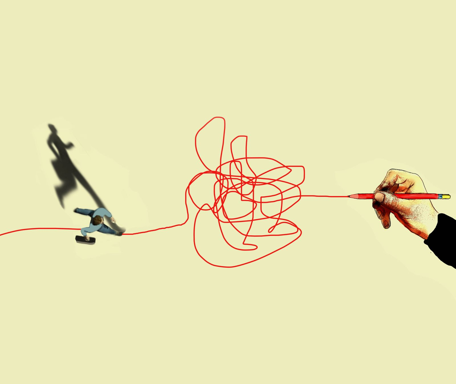 Trouble ahead, conceptual illustration Trouble ahead, conceptual illustration. Aerial view of a businessman running into