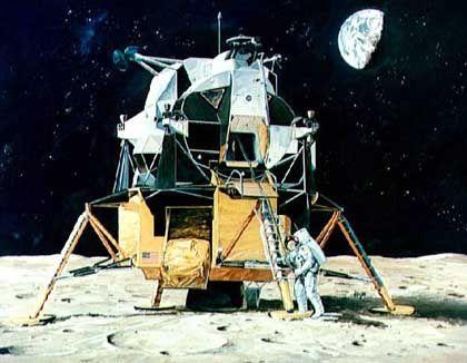 Künstlerkonzept: Die ersten Schritte auf dem Mond