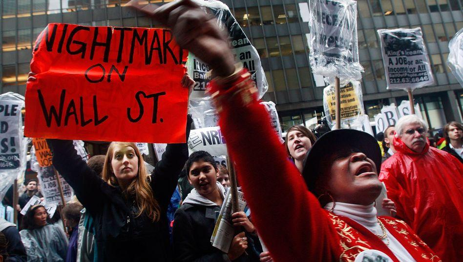 Demonstration im Finanzdistrikt von New York (2009): Die Regulierung der Finanzmärkte ist noch nicht so weit wie versprochen