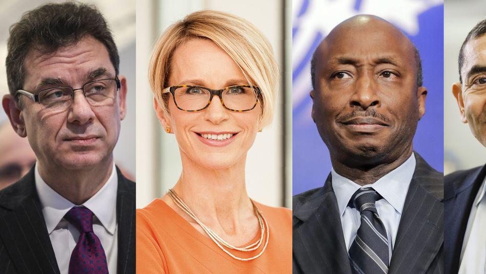 Seltene Boss-Allianz: Albert Bourla (Pfizer), Emma Walmsley (GlaxoSmithKline), Kenneth Frazier (Merck) und Ugur Sahin (Biontech).