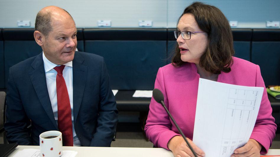 SPD-Chefin Andrea Nahles, Finanzminister Olaf Scholz