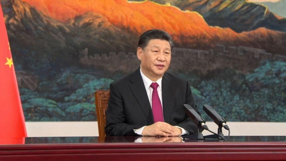 Eröffnungsredner: Video-Screenshot von Xi Jinpings Auftritt auf dem Weltwirtschaftsforum am Montag