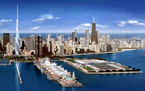 """Eine Farce"": Chicagos Skyline mit ""Fordham Spire""-Entwurf (Illustration)"