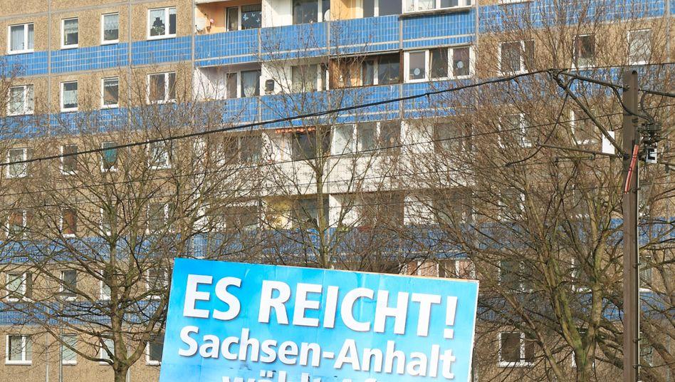 Abgehängte Provinz: Wahlplakat der AfD in Magdeburg