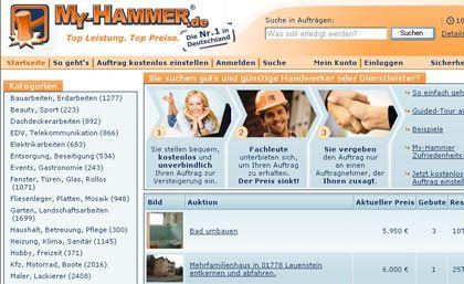 Drei, zwei, eins: Auf Portalen wie My-Hammer gibt es Handwerker per Hammerschlag