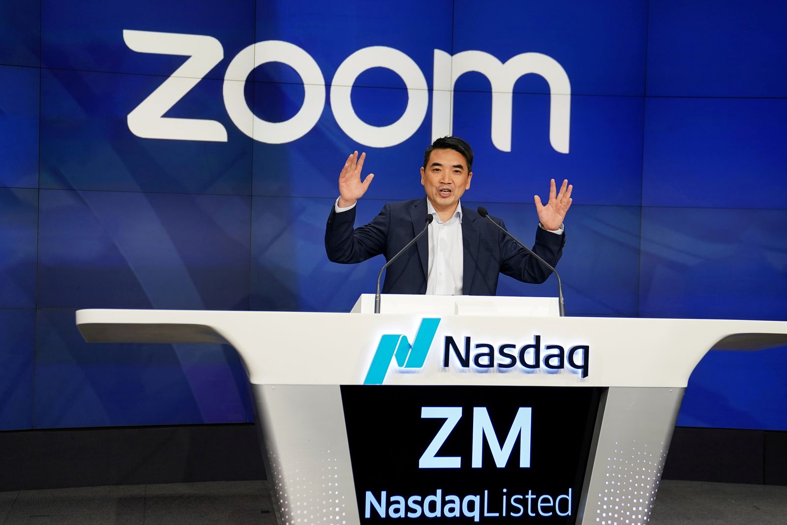 FILE PHOTO: Eric Yuan, CEO of Zoom Video Communications takes part in a bell ringing ceremony at the NASDAQ MarketSite in New York