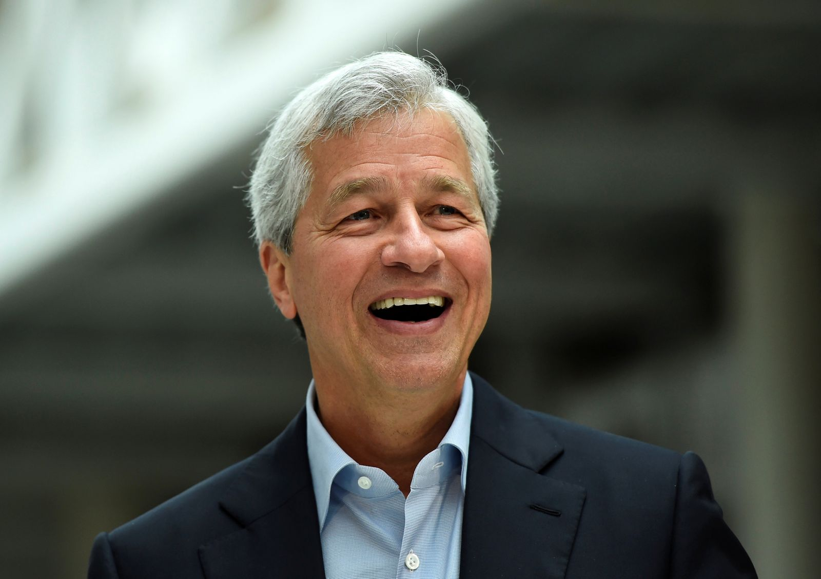 FILE PHOTO: JP Morgan CEO Jamie Dimon speaks at event at JP Morgan's corporate centre in Bournemouth