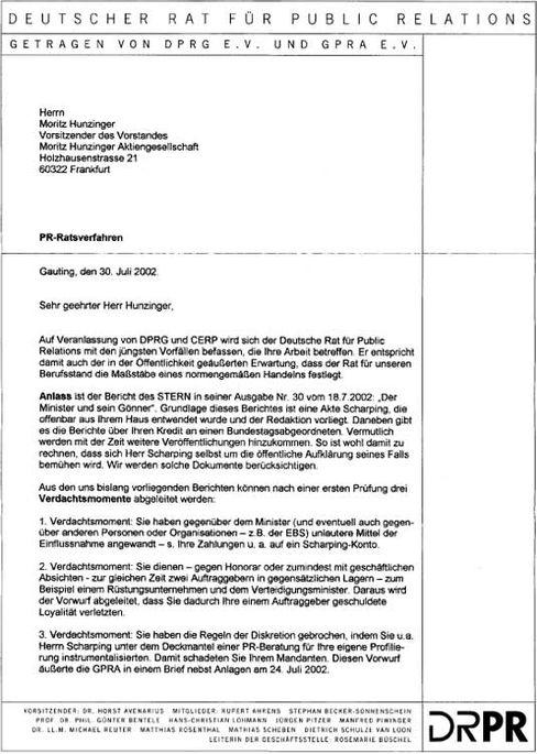 Der Brief des PR-Rates an Hunzinger, Seite 1