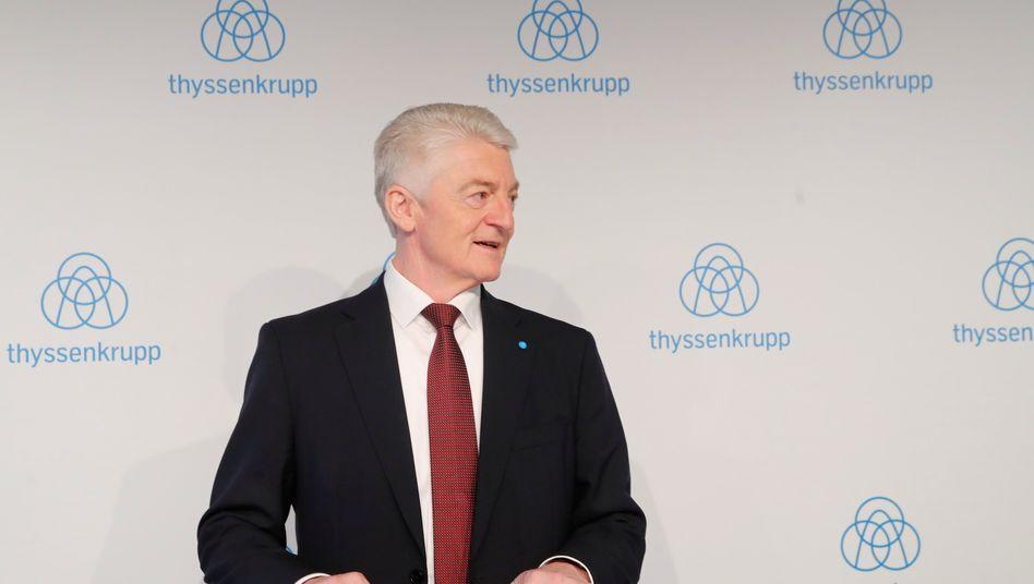 """""""Davon lassen wir uns nicht blenden"""": Thyssenkrupp-Chef Heinrich Hiesinger nimmt die guten Zahlen der Stahlsparte zur Kenntnis, hält aber an der Fusion mit Tata Steel fest"""