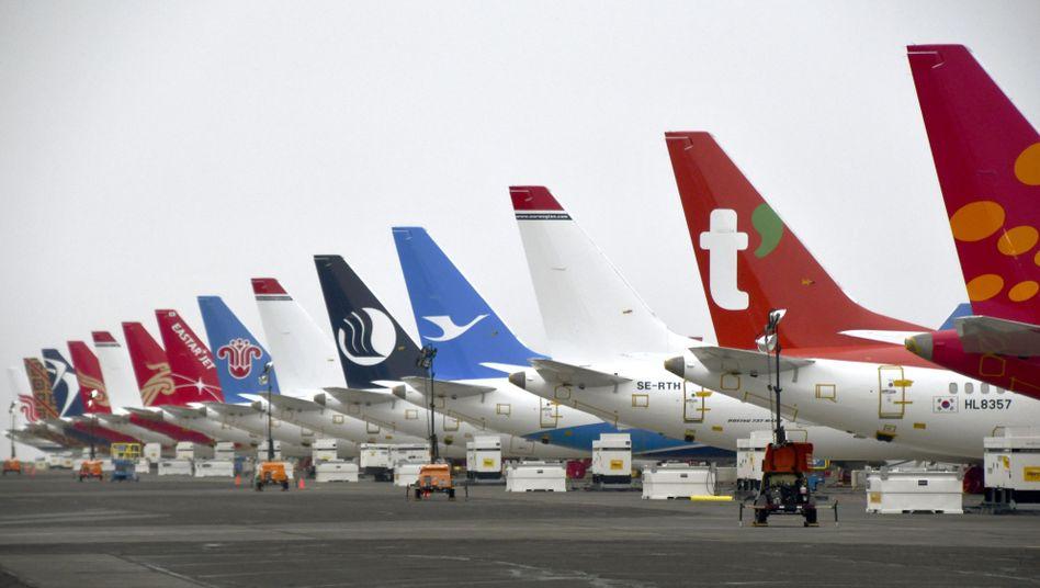 Totes Kapital: Parkende Boeing 737 Max auf einem Flughafen in Washington