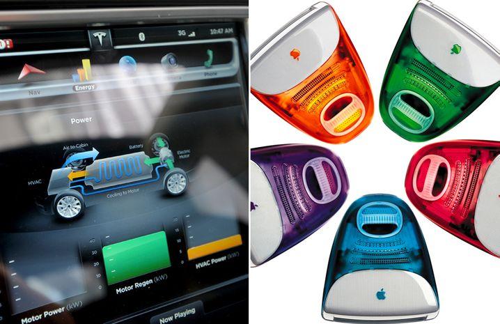 Tesla-Touchscreen, bunte iMacs: Tesla und Apple wollen in fast allem anders sein als ihre Konkurrenten