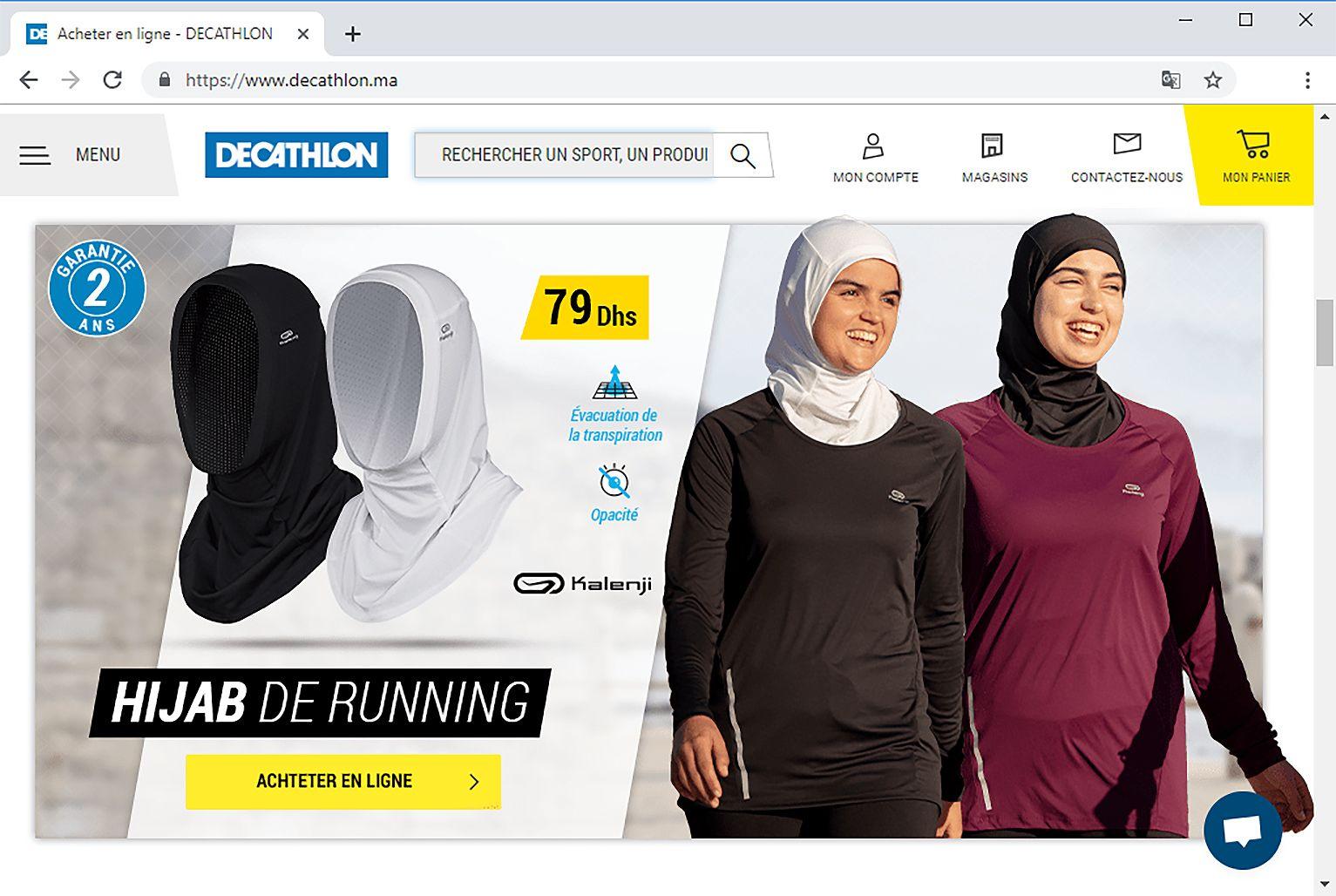 EINMALIGE VERWENDUNG SCREENSHOT Decathlon Hijab