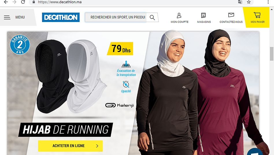 Decathlon Hijab: Die Kopfbedeckung für muslimische Sportlerinnen war auf der Internetseite in Marokko am Mittwoch noch zu bsetellen.