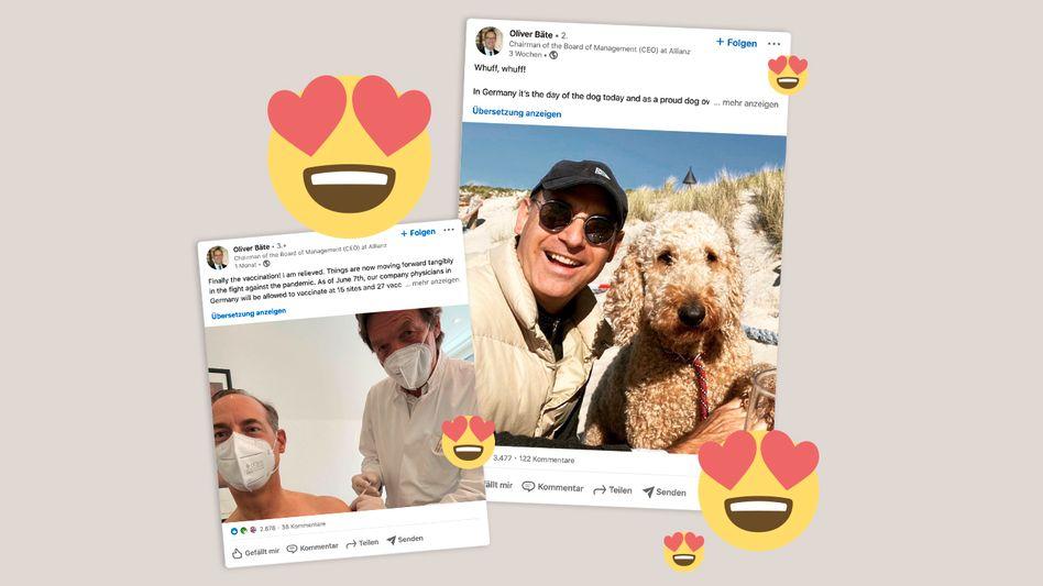 Sonnenkind: Allianz-Chef Oliver Bäte postet aus fast allen Lebenslagen – wie beim Strandspaziergang mit Hündin Maja und beim Impfen