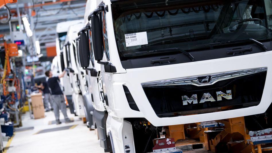 Schwere Lastwagen: An dem Lastwagenbauer MAN hält die VW-Truck-Tochter bereits 94,36, jetzt will sich die restlichen Aktionäre aus dem Unternehmen drängen