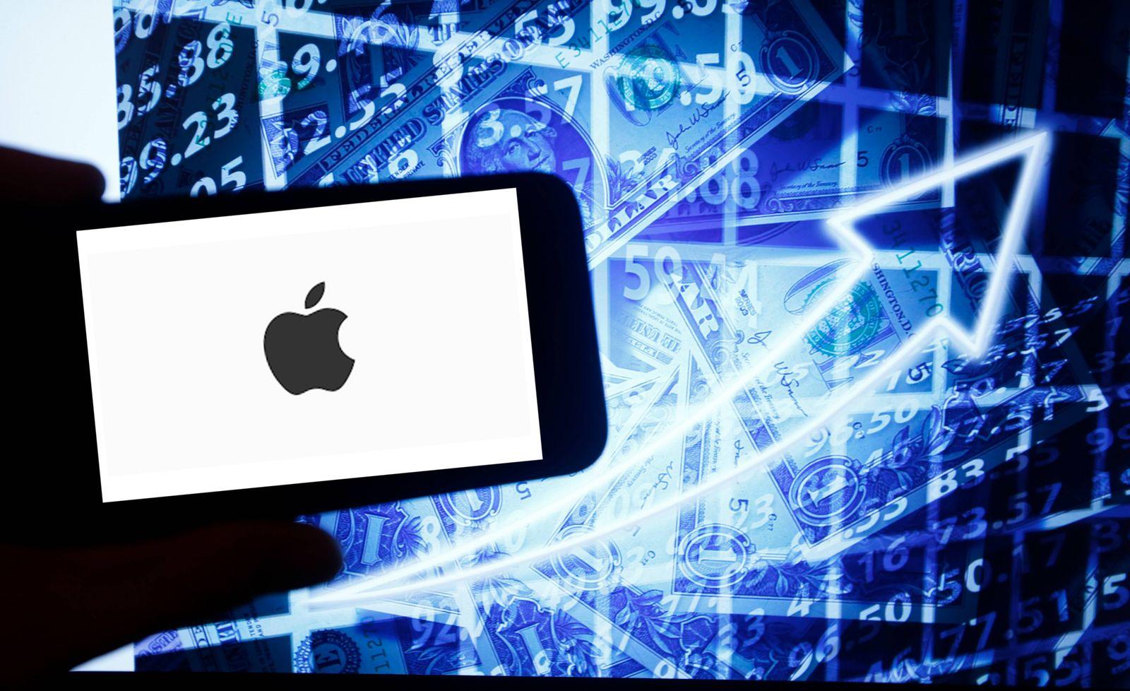 Dow Jones Kurse, Das Logo des amerikanischen Technologiekonzerns Apple. ist auf einem Smartphone zu sehen. Dahinter ist