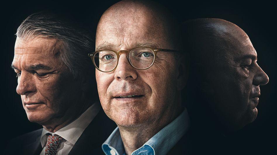 CEO Ermotti (l.) und Verwaltungsratspräsident Weber (r.) blockieren sich gegenseitig. Mit Co-Private-Wealth-Mann Blessing sind beide nicht zufrieden.