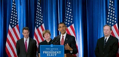Das neue Team: Der gewählte Präsident Barack Obama (r.) mit seiner Wirtschaftsberaterin Christina Romer und dem künftigen Finanzminister Timothy Geithner