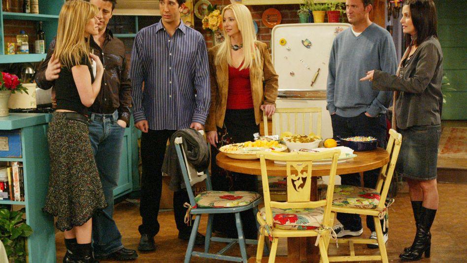 """""""Friends"""": Die Time Warner Produktion läuft erfolgreich auf NBC - dennoch sind die klassischen TV-Anbieter in den USA stark unter Druck und ins Visier der Telekomkonzerne geraten"""