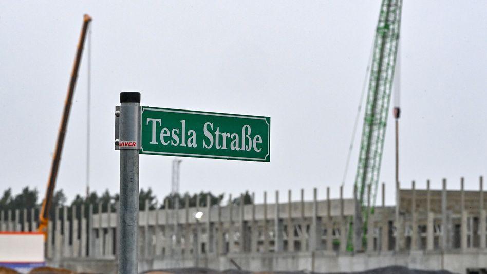 Tesla-Baustelle in Grünheide bei Berlin: Bald soll es auch mit dem Bau der Batteriefertigung losgehen