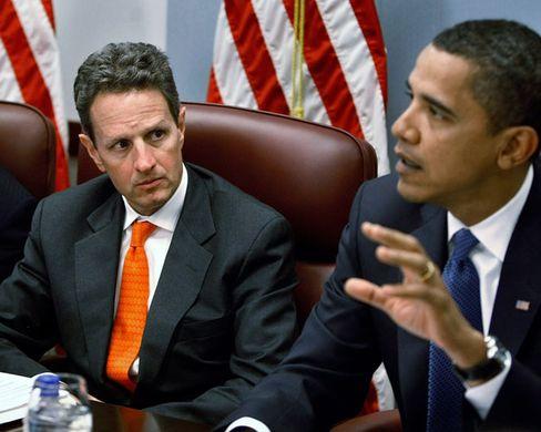 """Obama mit Finanzminister Geithner (l): """"Der umsichtigste Kurs ist der energischste Kurs"""""""