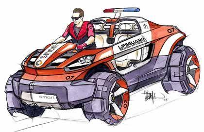 Smart Rescue Vehicle: Ein Amphibienfahrzeug, das von den Designern für die Baywatch-Teams an den Stränden Südkaliforniens ersonnen wurde