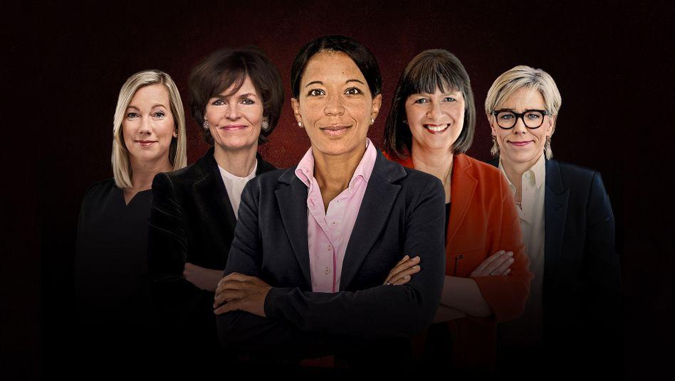 Janina Kugel (Mitte) mit weiteren Finalistinnen (v.l.n.r.): Stephanie Caspar, Nicola Leibinger-Kammüller, Martina Hund-Mejean und Maria Moraeus Hanssen.