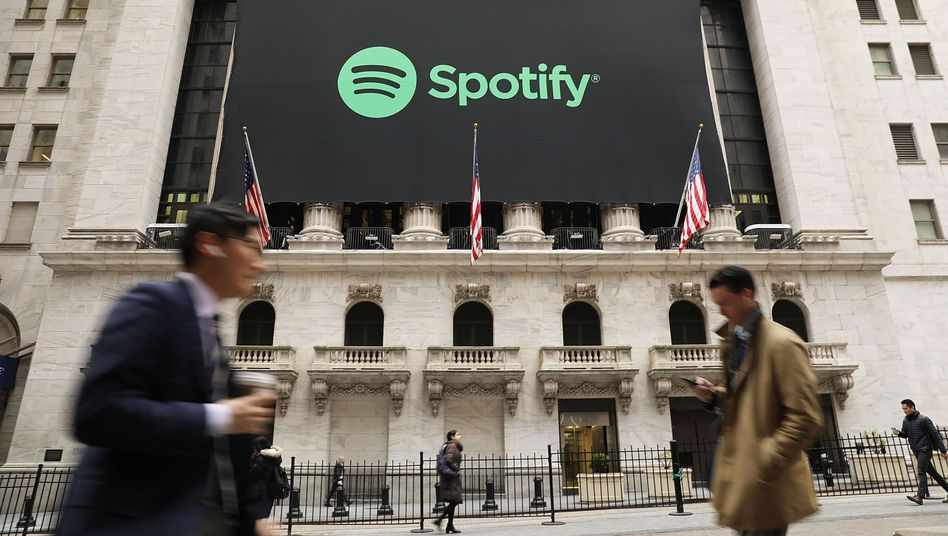 Angekommen: Spotify-Plakat am Tag des Börsengangs an der New York Stock Exchange.