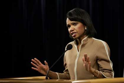 """US-Außenministerin Condoleezza Rice: """"Keine kurzfristigen Lösungen"""""""